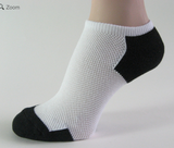 White with Black no show athletic tennis socks breathable mesh with Sweat Stopping Power (Up to 29% Off)