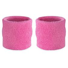 NU Pink Youth Wristbands, 2.5inches, 2pk
