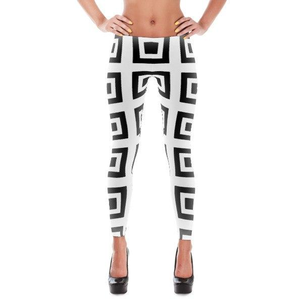 NU Tennis' Funkiest Tennis Leggings For On and Off The Court Black and White Squared