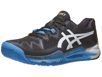 Asics Men's GEL-Resolution 8 Tennis Shoes Black and White