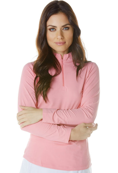 Solid Long Sleeve Mock Neck Top 80000 Candy Pink