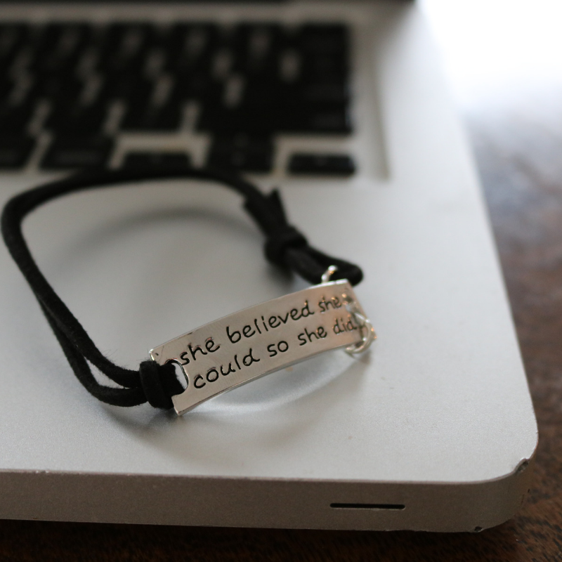 """She Believed She Could So She Did"" Leather Bracelet"