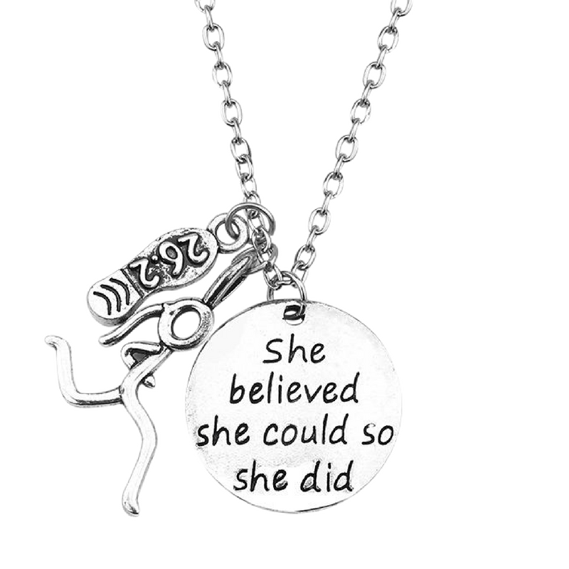 """She Believed She Could So She Did"" Marathon Charm Necklace"