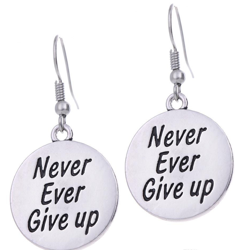 never ever give up earrings