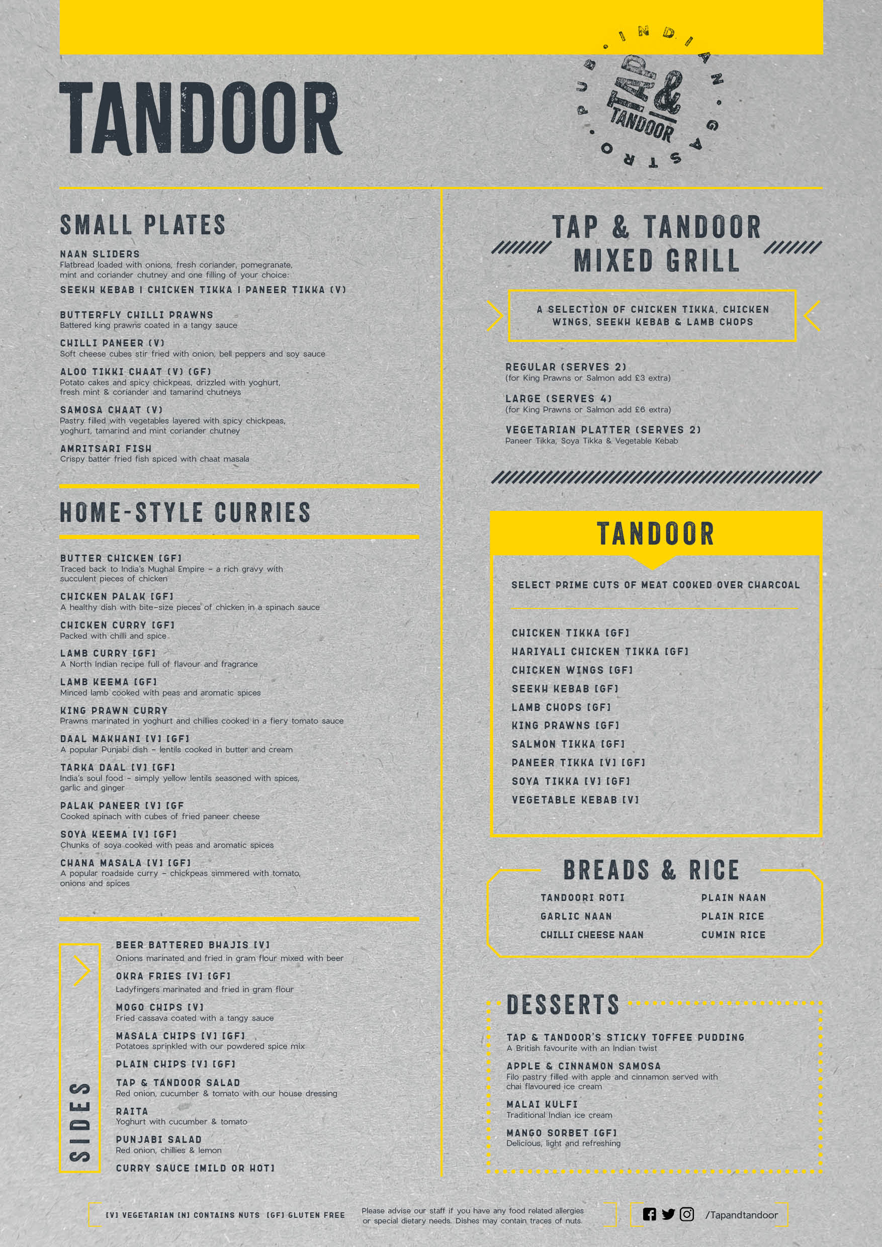 Tap & Tandoor Food Menu