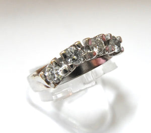 18Ct White Gold & 4 Stone Diamond Ring