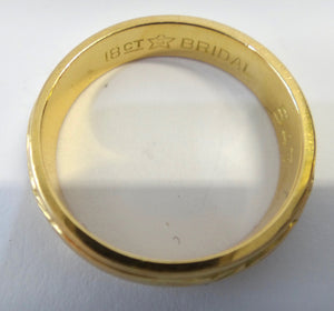 18Ct Yellow Gold Engraved Wedding Band Ring