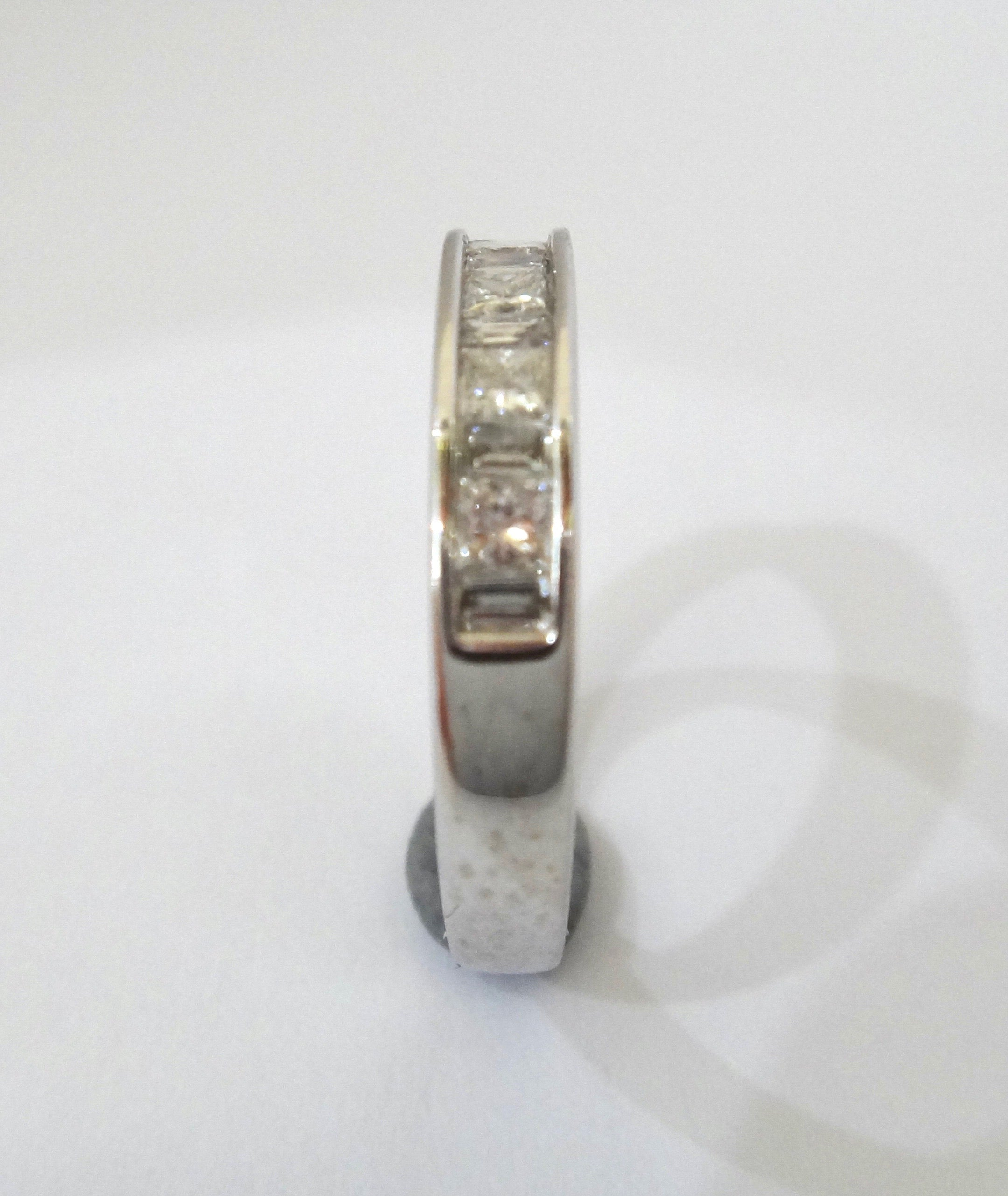 14CT White Gold, Baguette & Princess Cut Diamond Channel Set Ring VAL $2,380