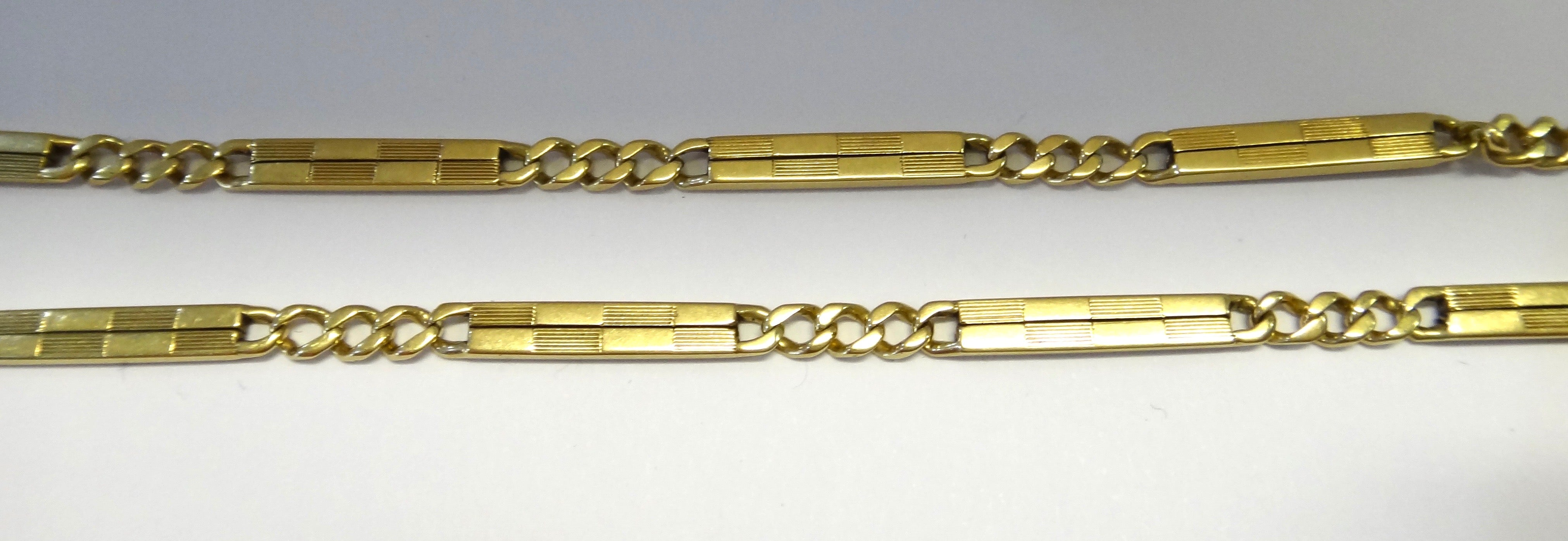 14CT Yellow Gold Curb Link & Bar Necklace