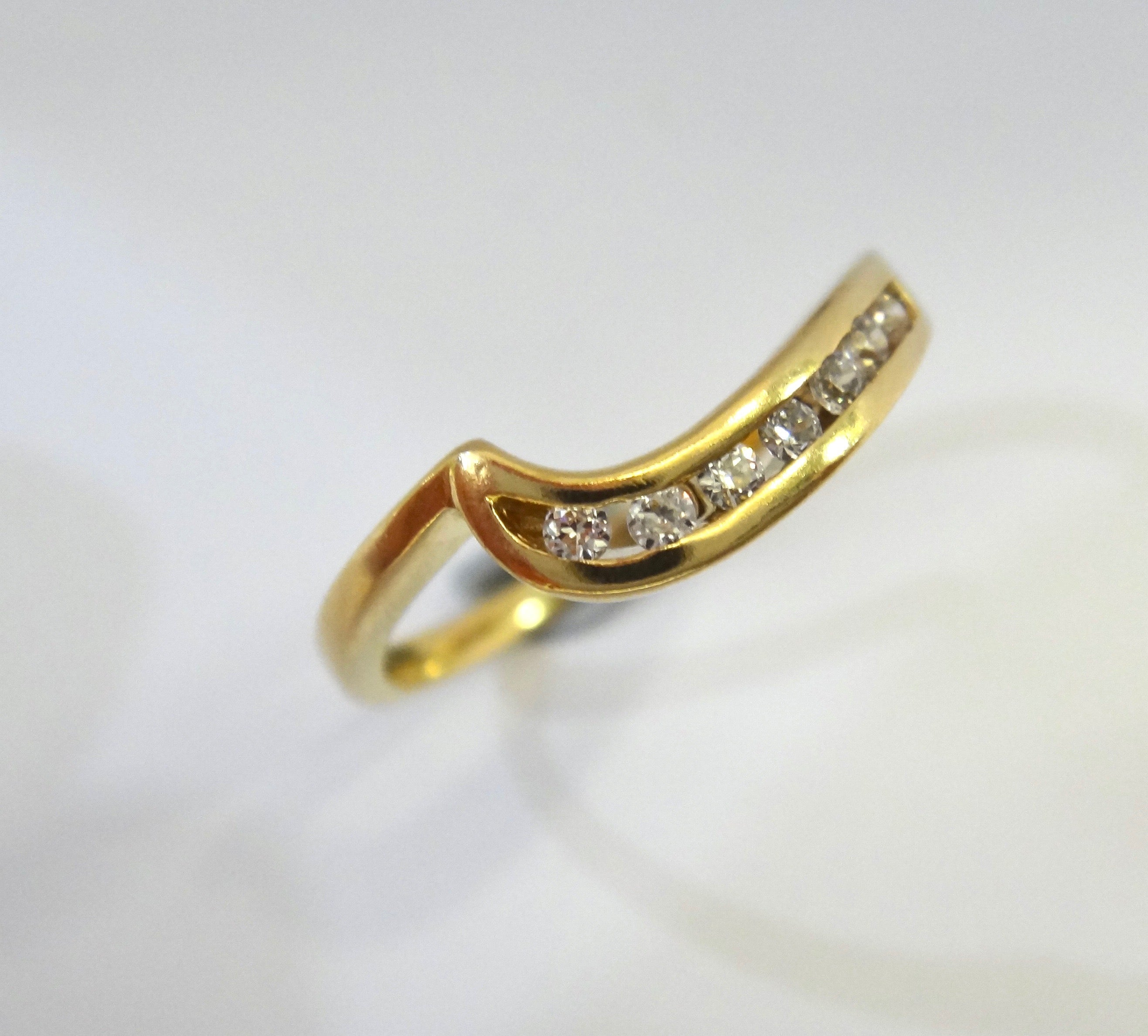 18CT Yellow GOLD & Diamond Channel Set Ring