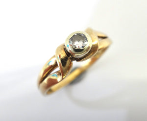 9CT Yellow GOLD & Collet Set Solitaire Diamond Ring
