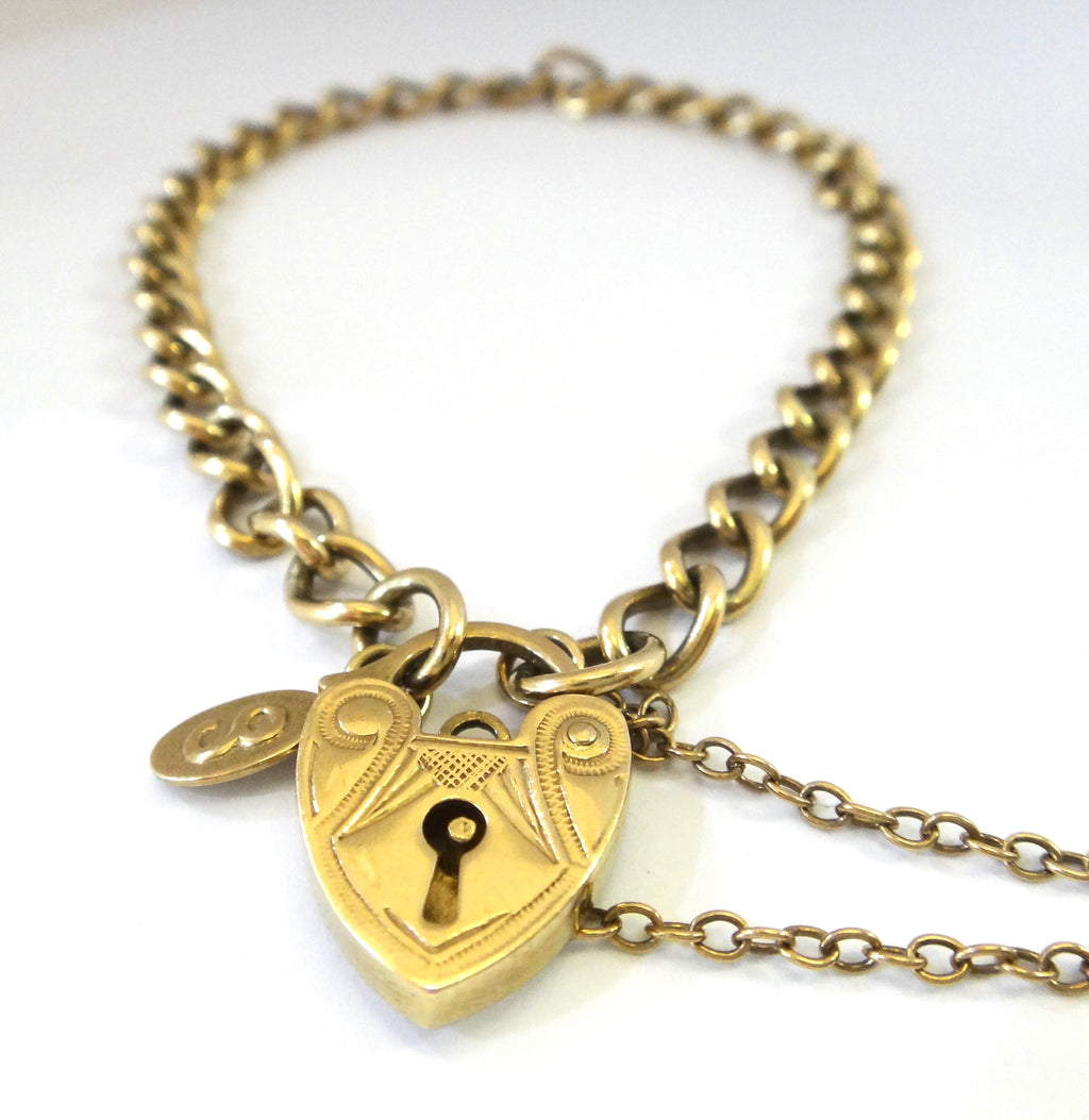 9CT Yellow GOLD & Heart Locket Bracelet