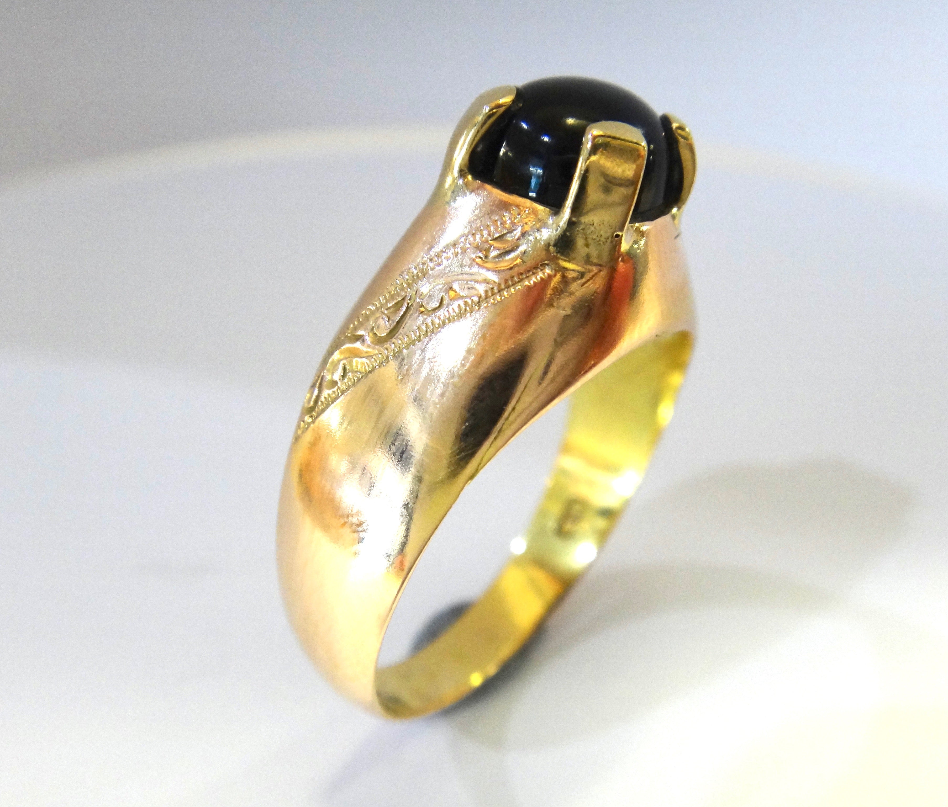 14CT Rose GOLD & Onyx Ring
