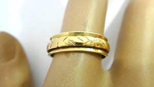 18CT Yellow GOLD Patterned Band Ring