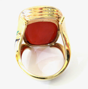 Fine GOLD Gents Ring set with a CARNELIAN Hard stone