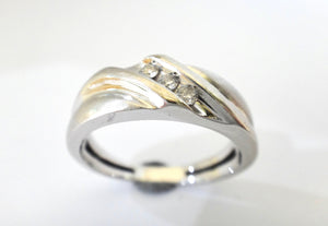 9CT Brushed White GOLD & Diamond Ring