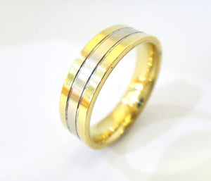 Mens 18CT Yellow & White GOLD Wedding Band Ring