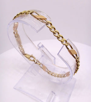 18CT White, Rose & Yellow GOLD Curb Link Style Bracelet