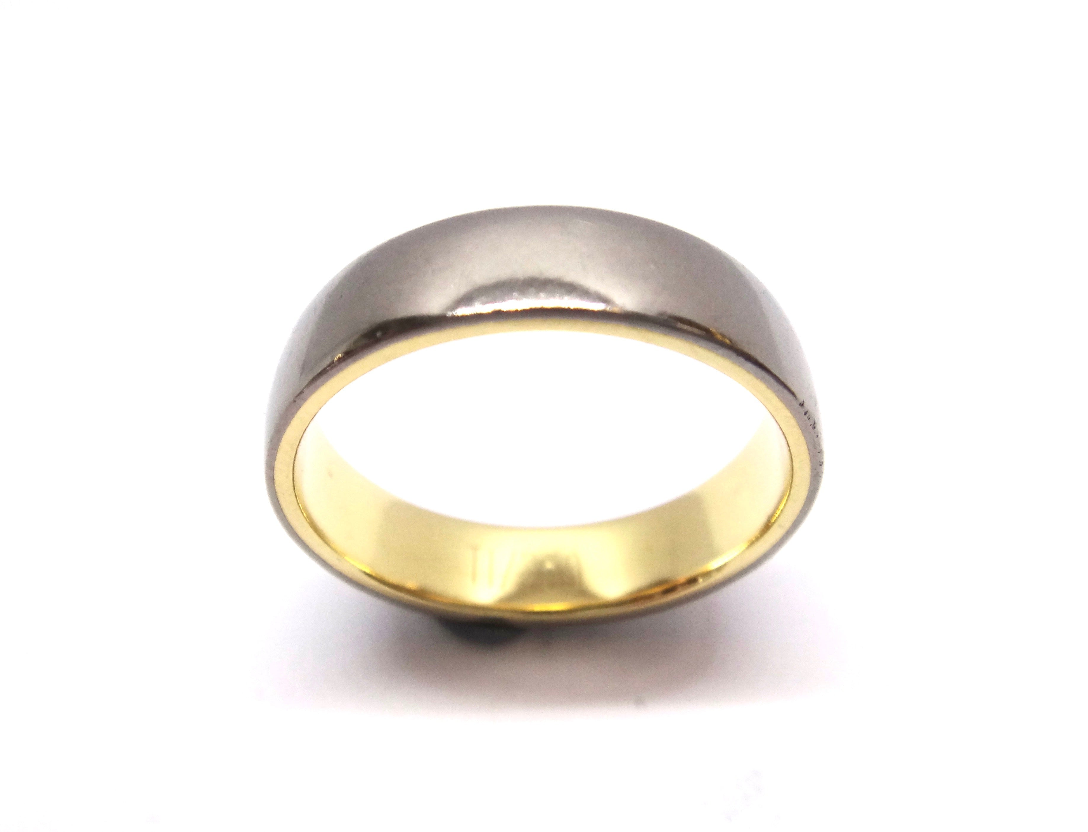 18CT Yellow GOLD & TITANIUM Wedding Band Ring
