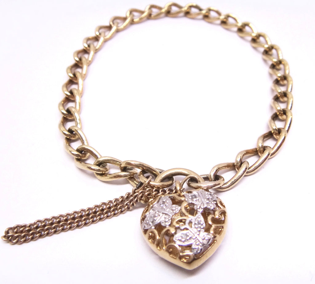 9CT Yellow GOLD Curb Link Style Bracelet with DIAMOND Butterfly Heart Locket