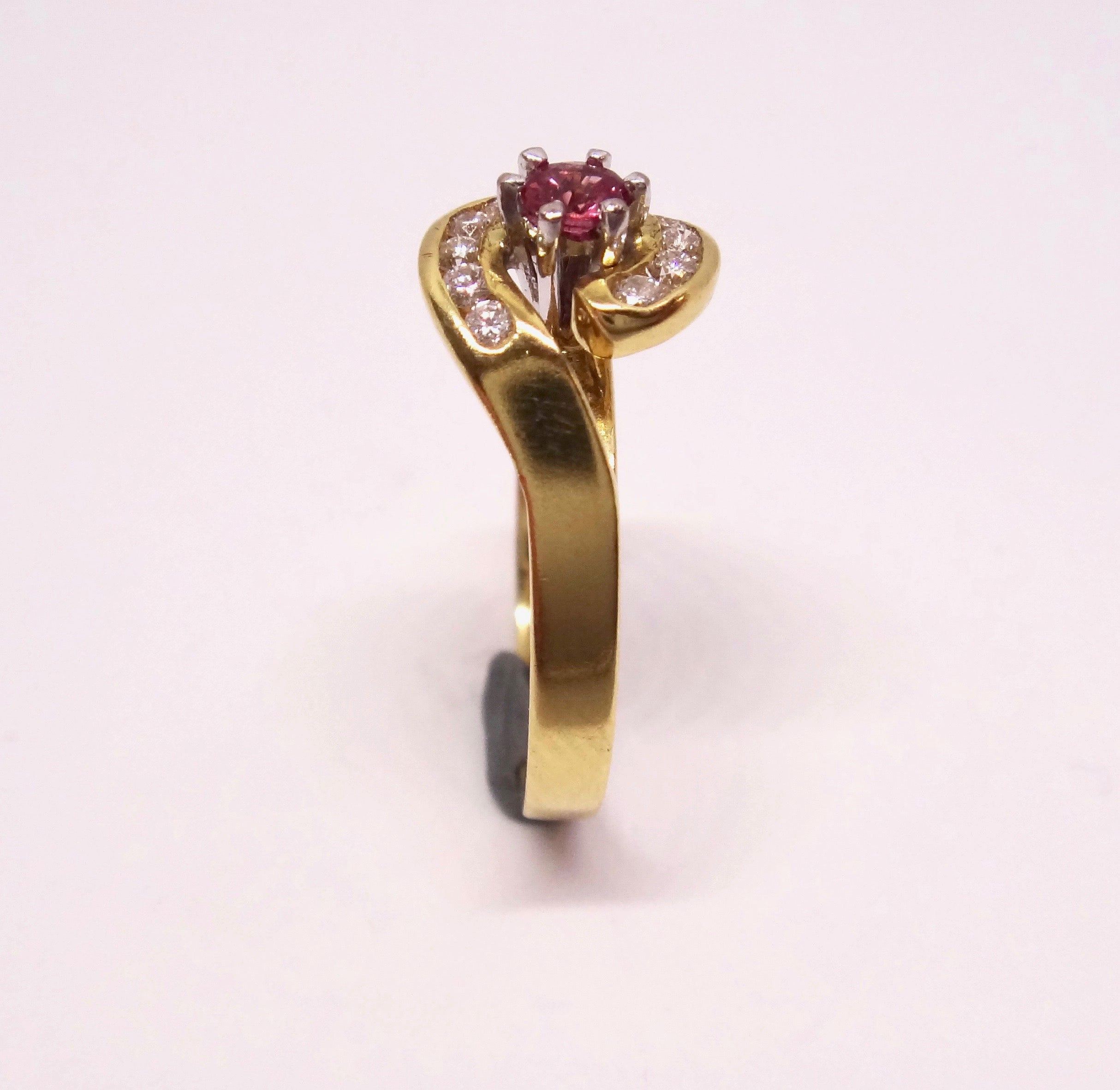 18CT Yellow GOLD, Diamond & Pink Sapphire Ring