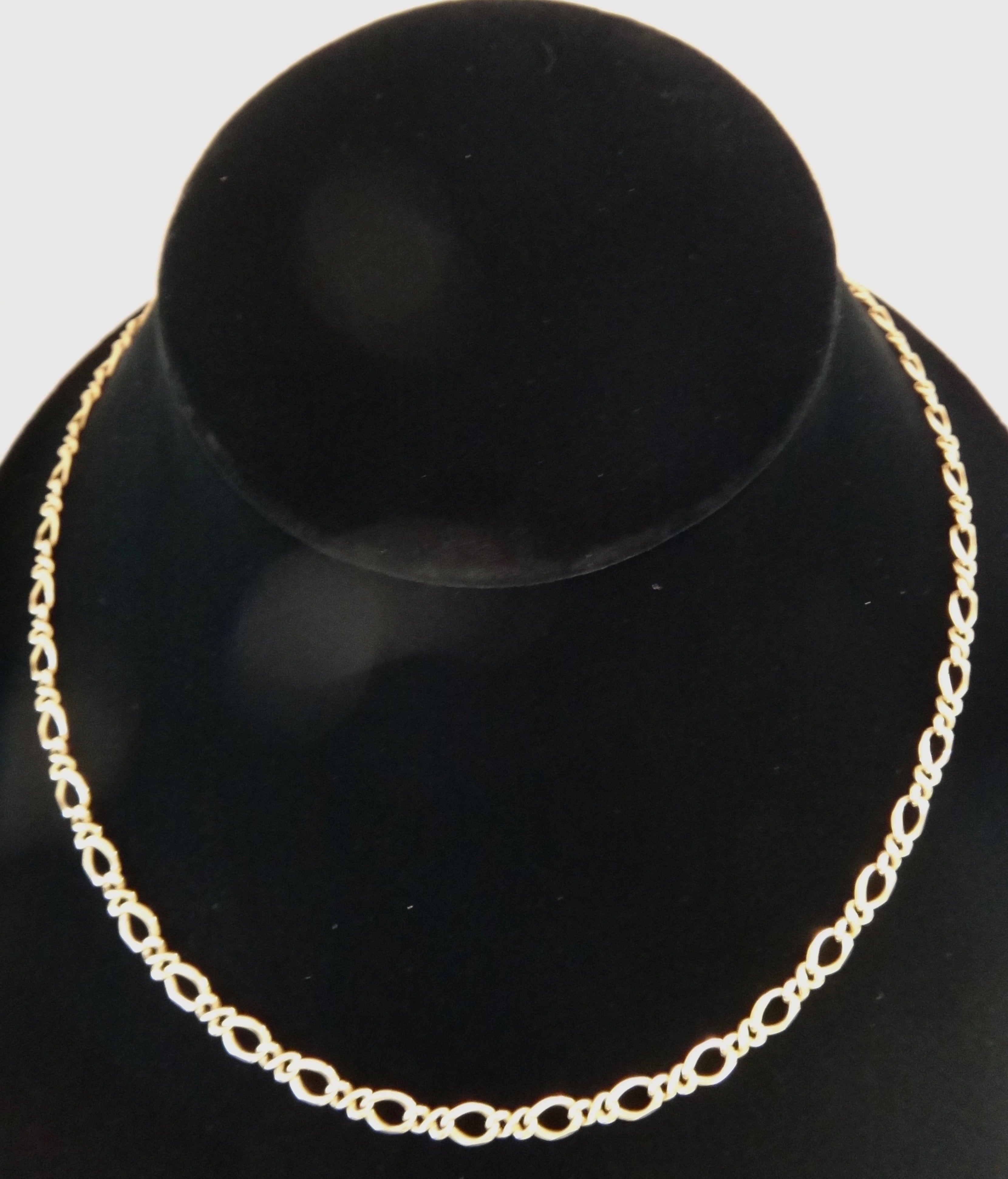 14CT Yellow GOLD Figaro Link Necklace