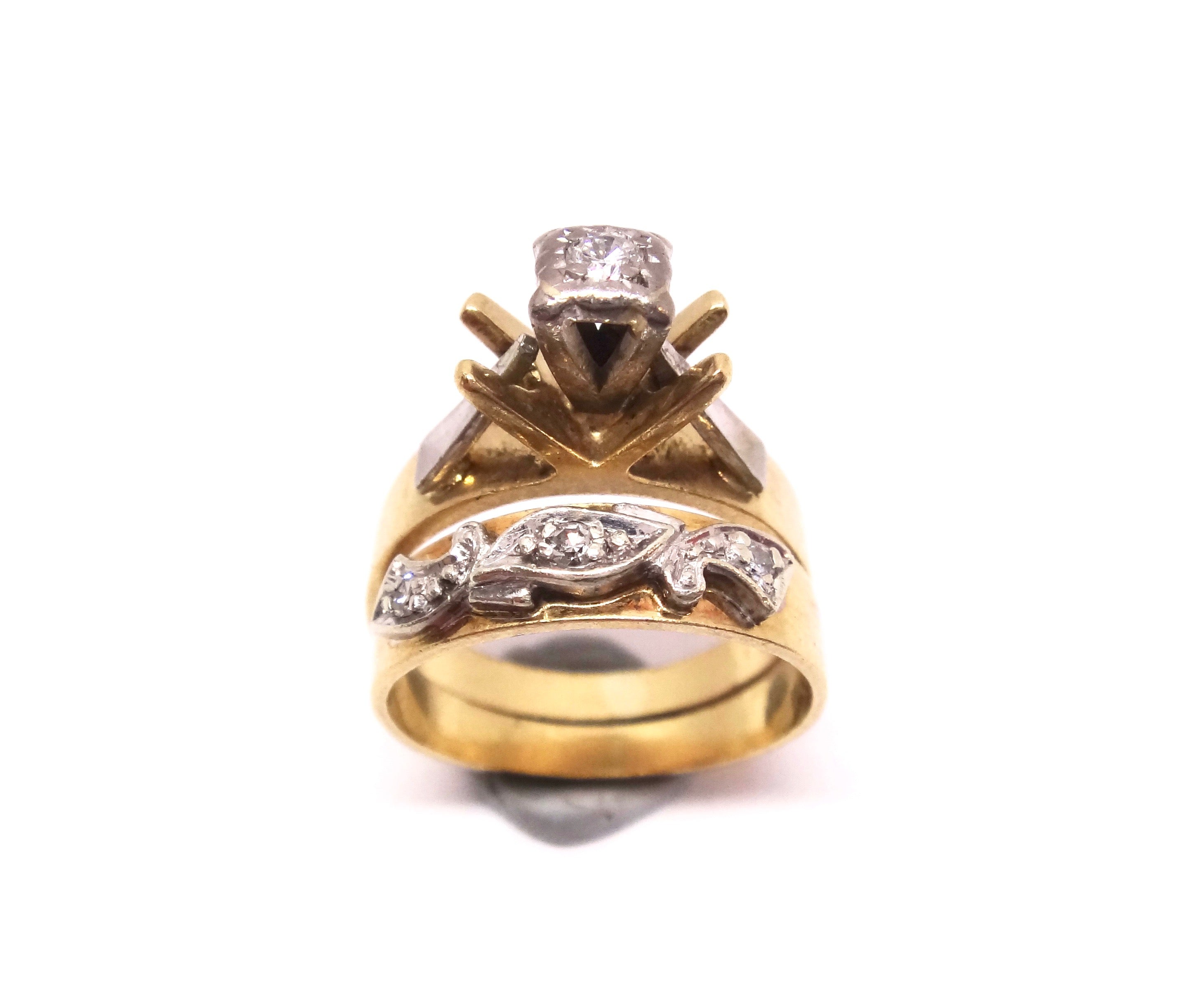 Vintage 18CT Yellow GOLD & DIAMOND Wedding/Engagement Ring Set