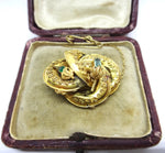ANTIQUE 18CT Yellow GOLD & Emerald Brooch c. 1860