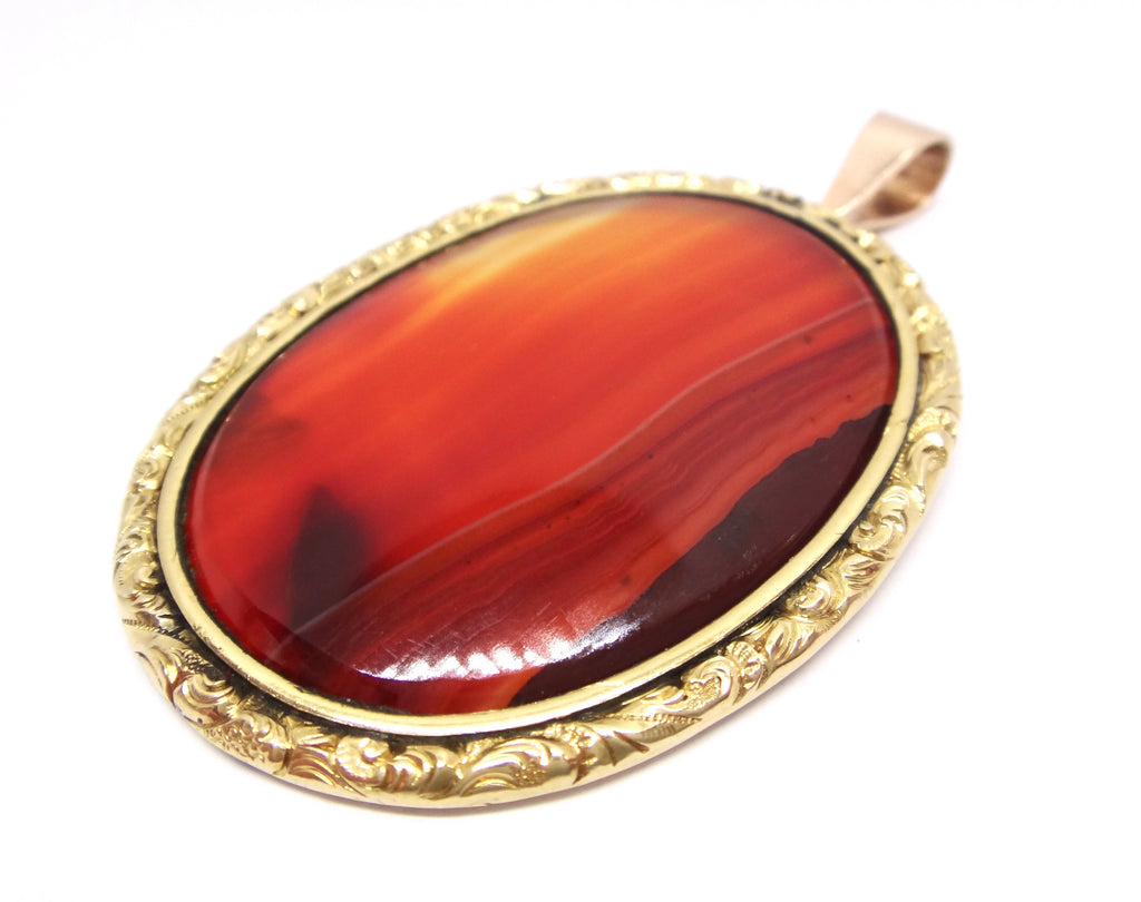 ANTIQUE 18CT Yellow GOLD & Banded Agate Pendant c. 1860