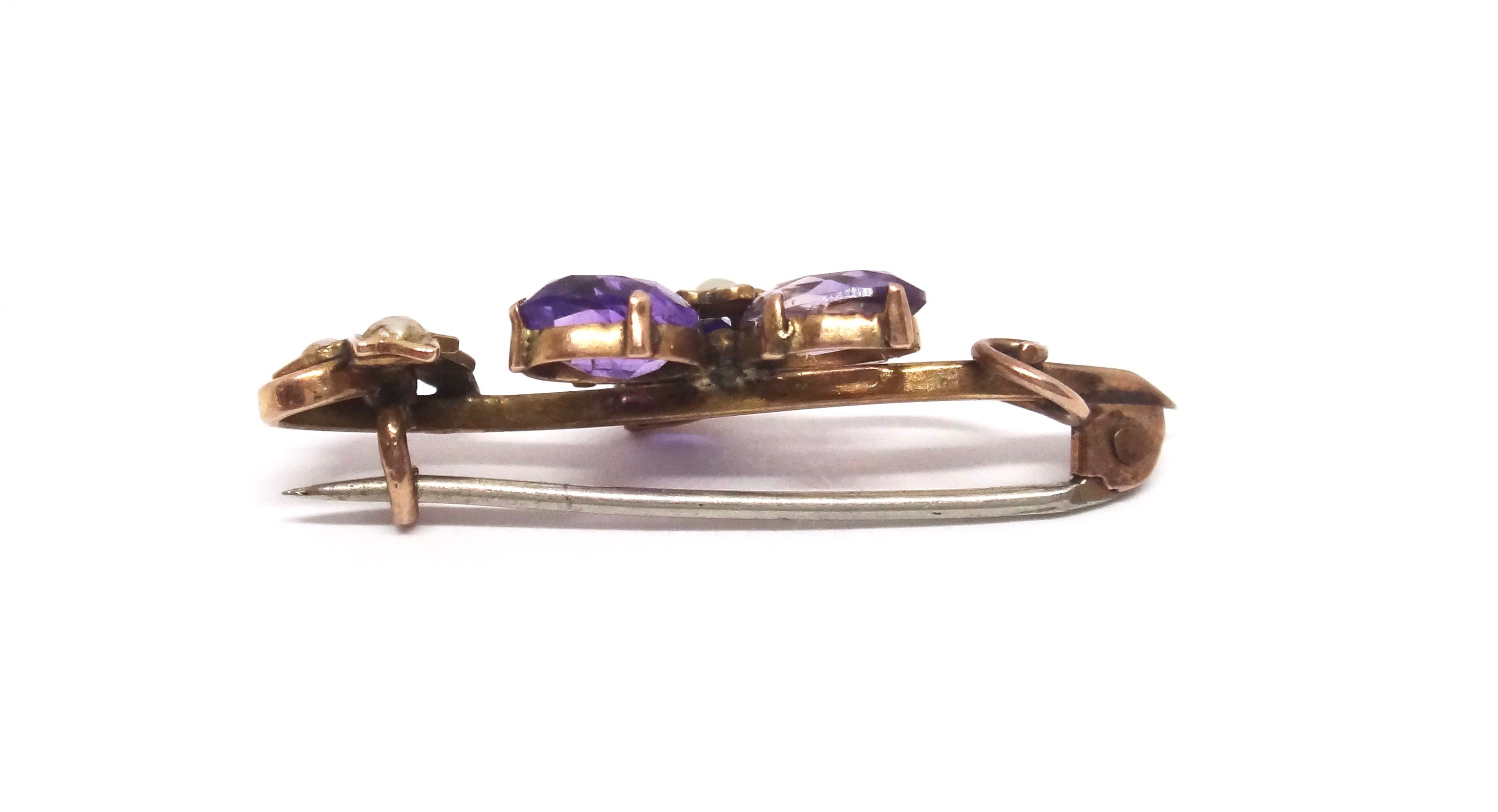 ANTIQUE 9CT Yellow GOLD, Amethyst & Pearl Brooch