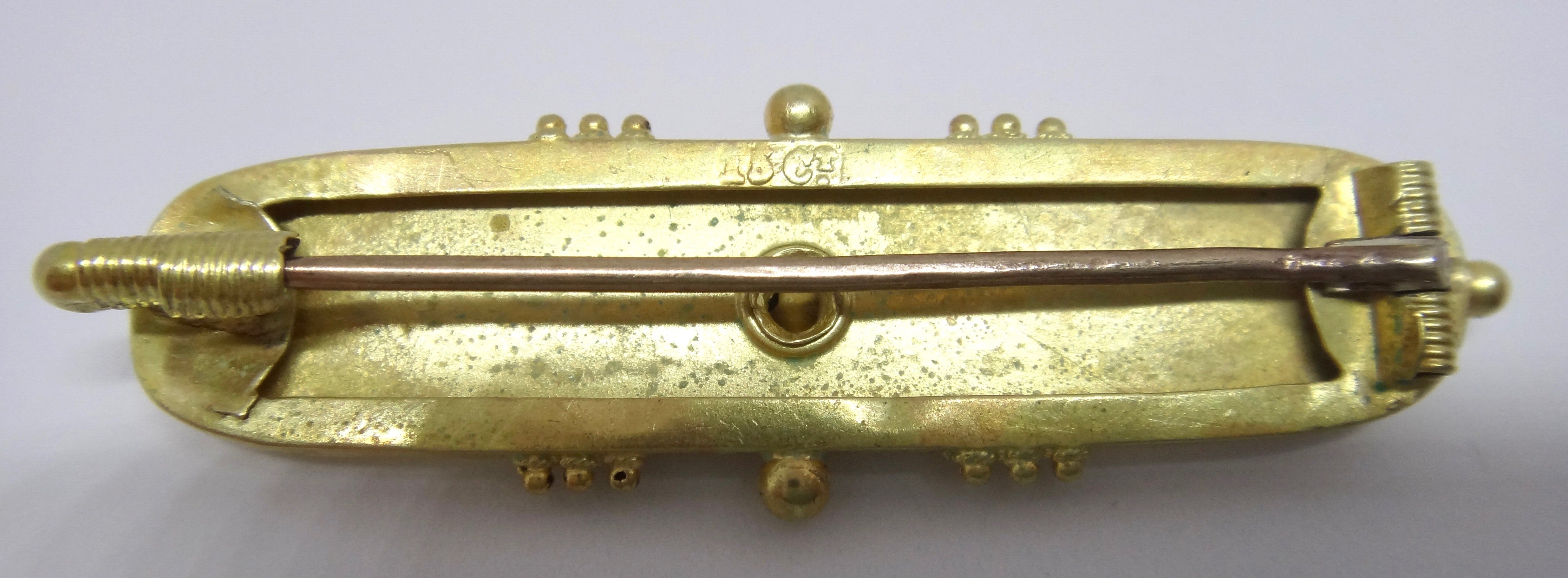 ANTIQUE 15CT Yellow GOLD Brooch c. 1870