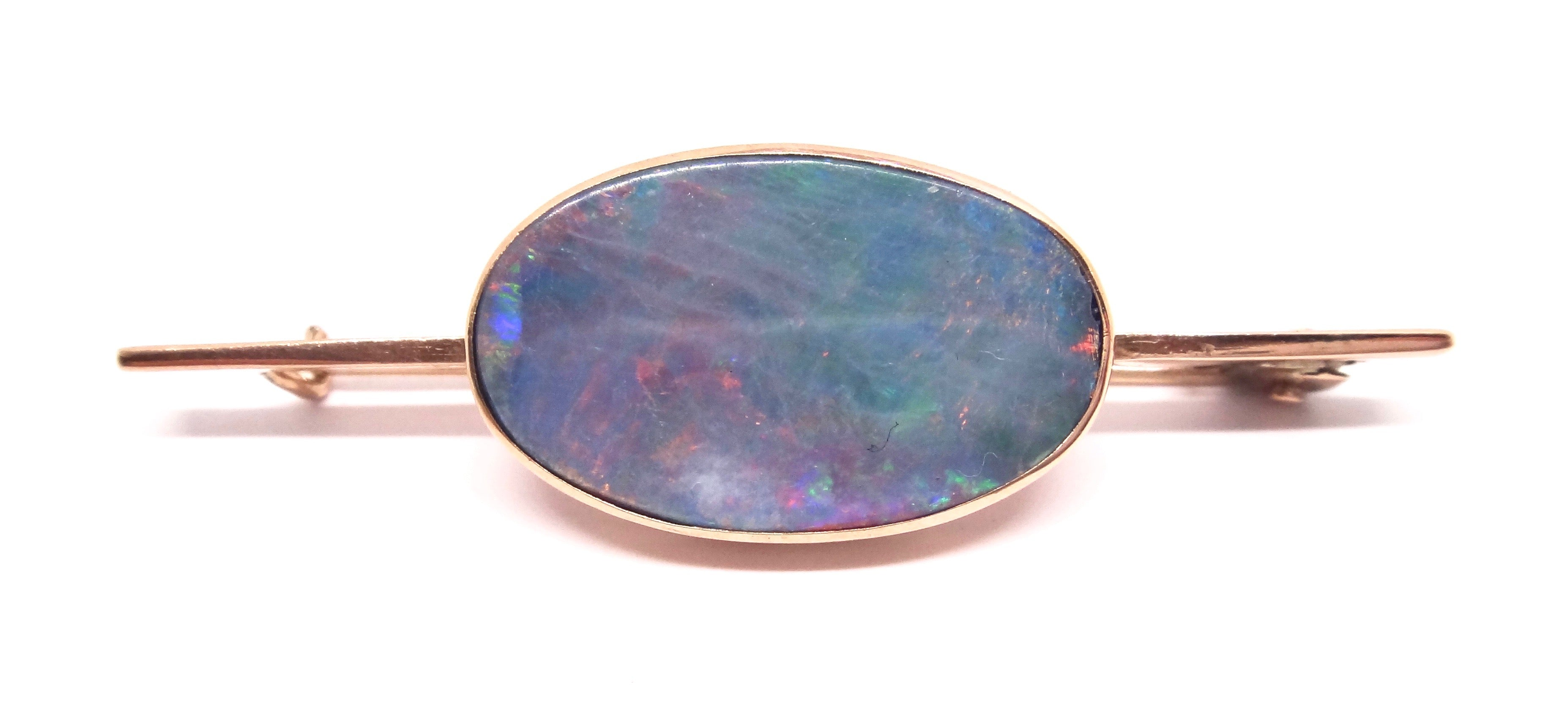 Australian ANTIQUE 9CT Rose GOLD Black Opal Brooch c. 1900