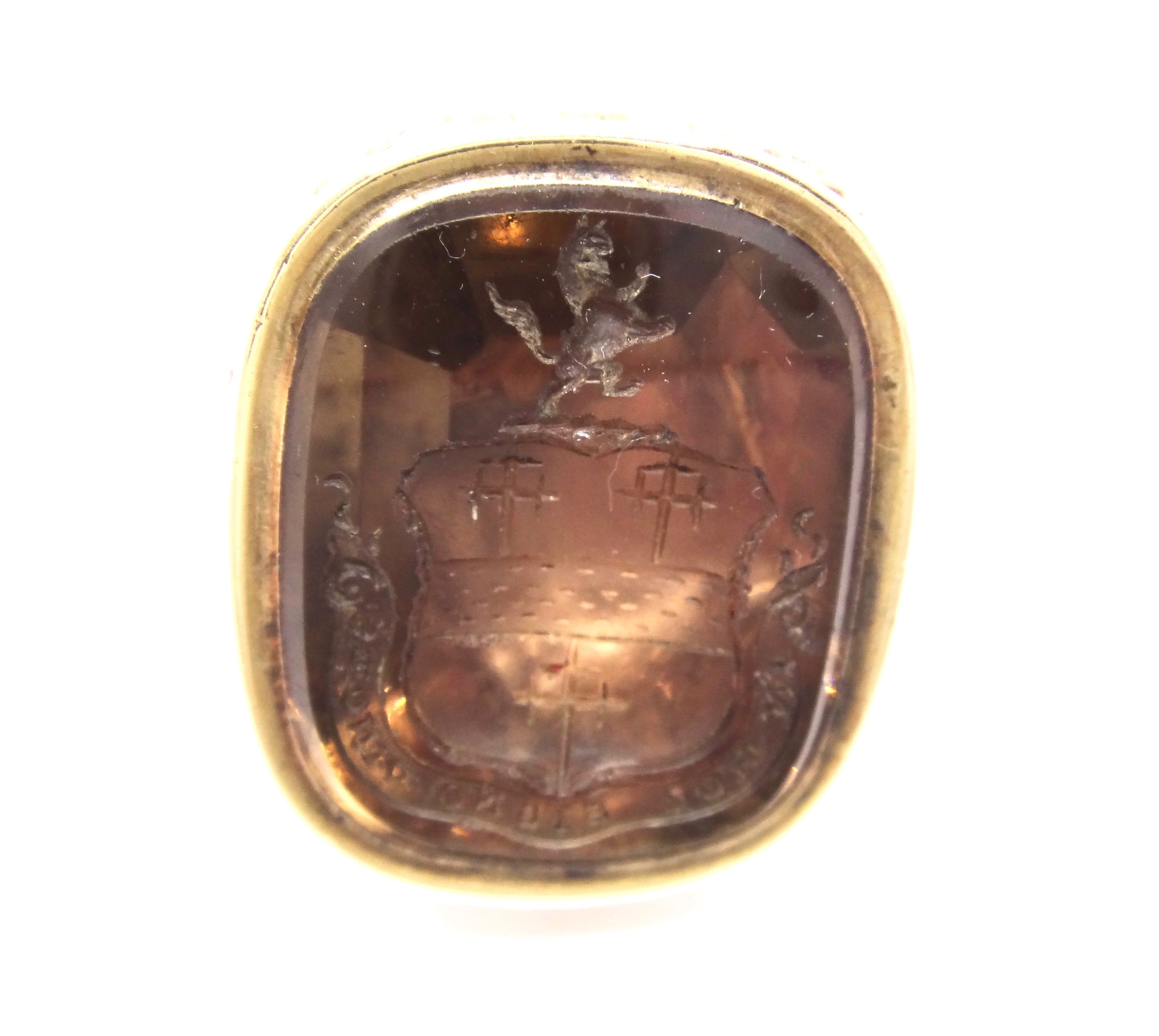 ANTIQUE Rolled GOLD Carved Intaglio SEAL Webb-Bowen Family Crest