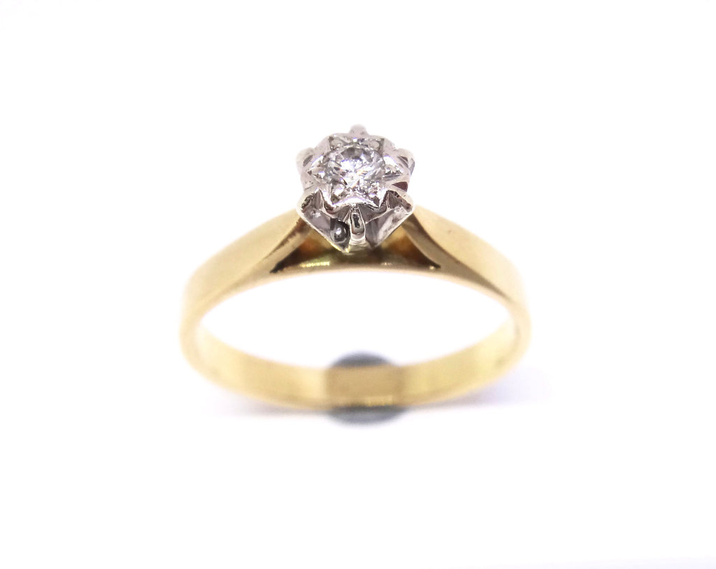 18CT Yellow GOLD & Diamond Solitaire Ring