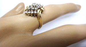 14CT Yellow GOLD & Multi Brilliant Cut DIAMOND Ring