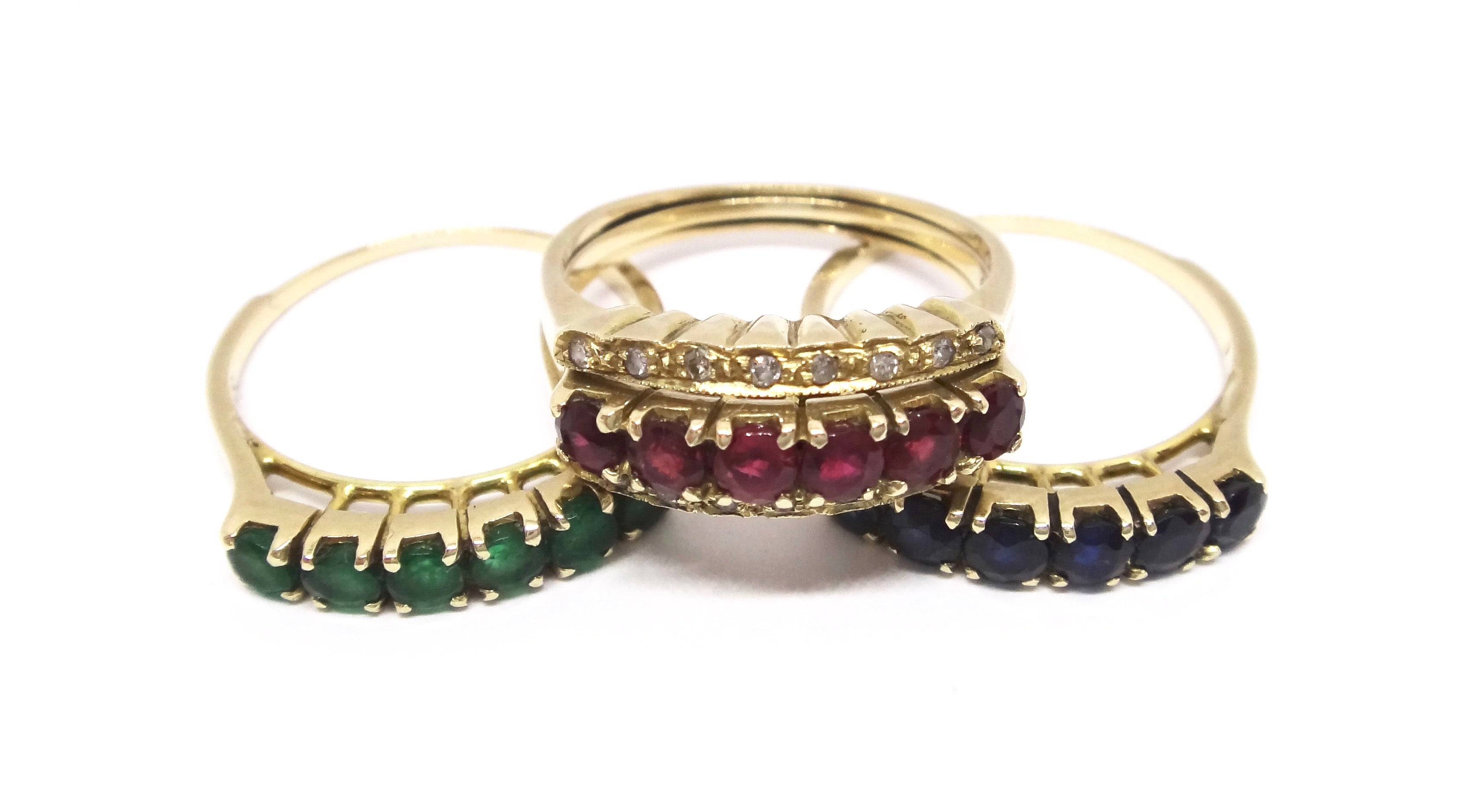 14CT Yellow GOLD, Sapphire, Emerald, Ruby & Diamond Interchangeable Ring Set