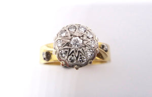 18CT Yellow GOLD, Palladium & DIAMOND Cluster Ring