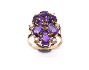 9CT Yellow GOLD, Amethyst & Pearl Ring