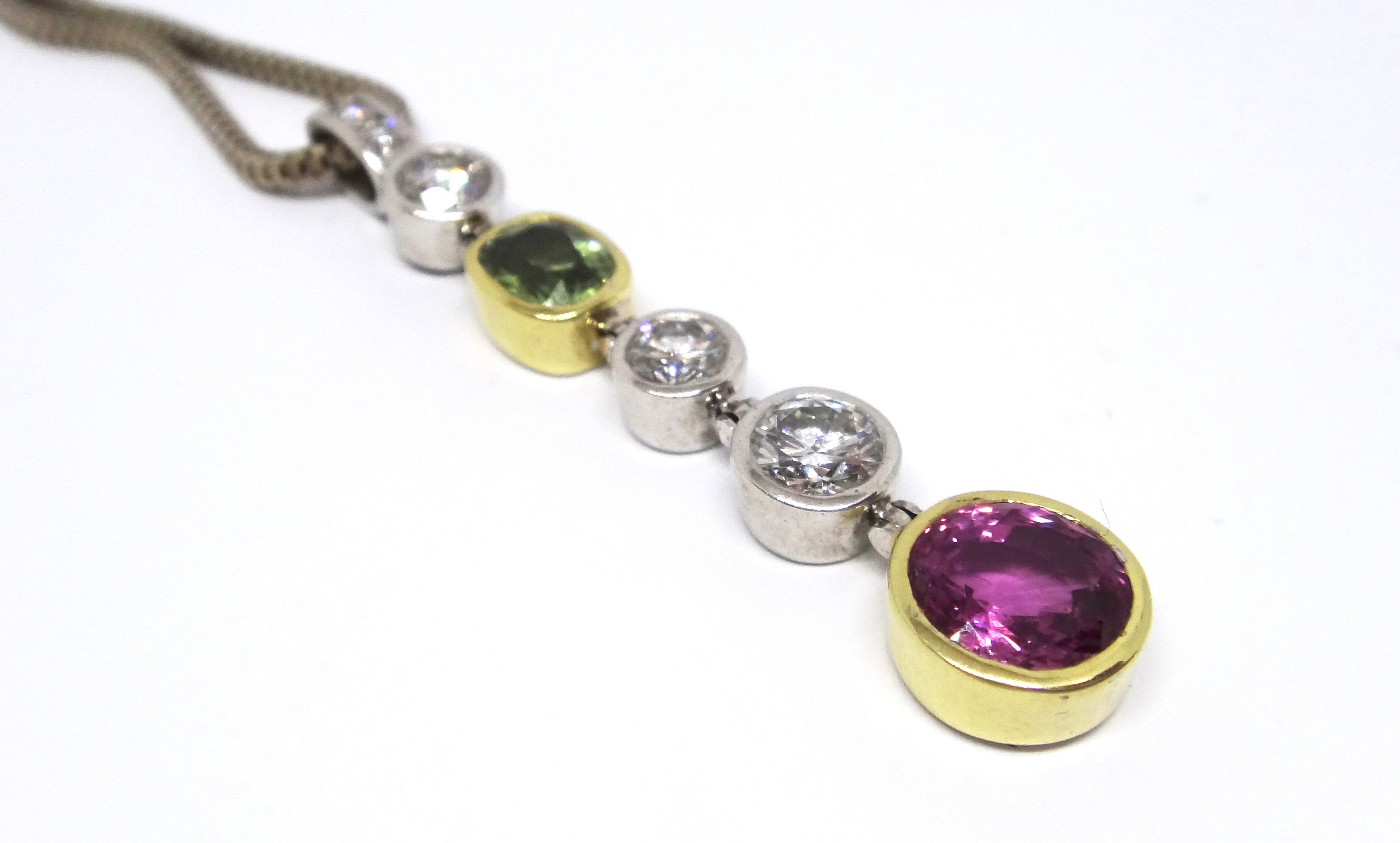 18CT GOLD, Brilliant Cut DIAMOND, Green & Pink Sapphire Pendant Necklace VAL $24,650