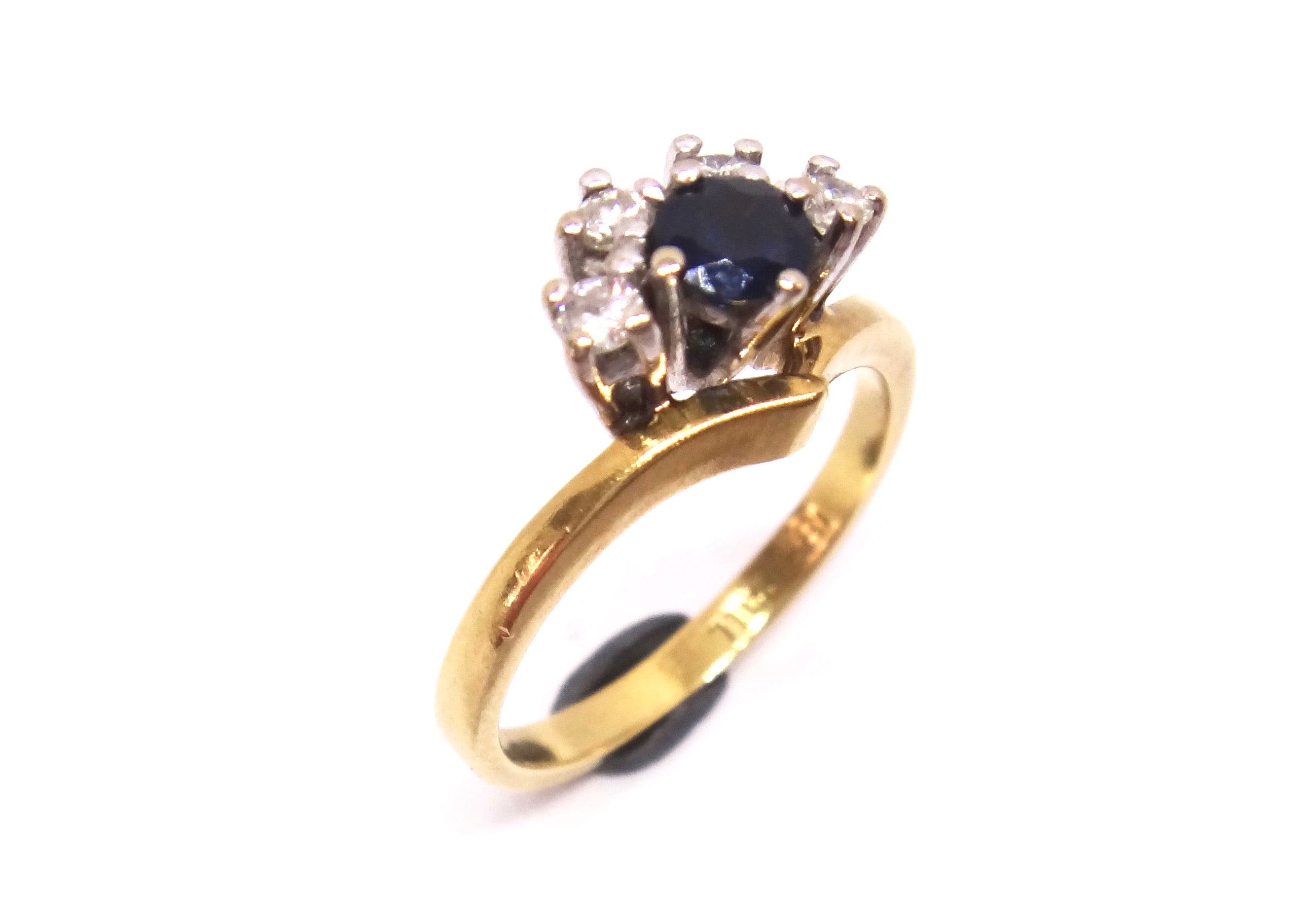 18CT Yellow GOLD, Palladium, Sapphire & Diamond Crescent Shape Ring