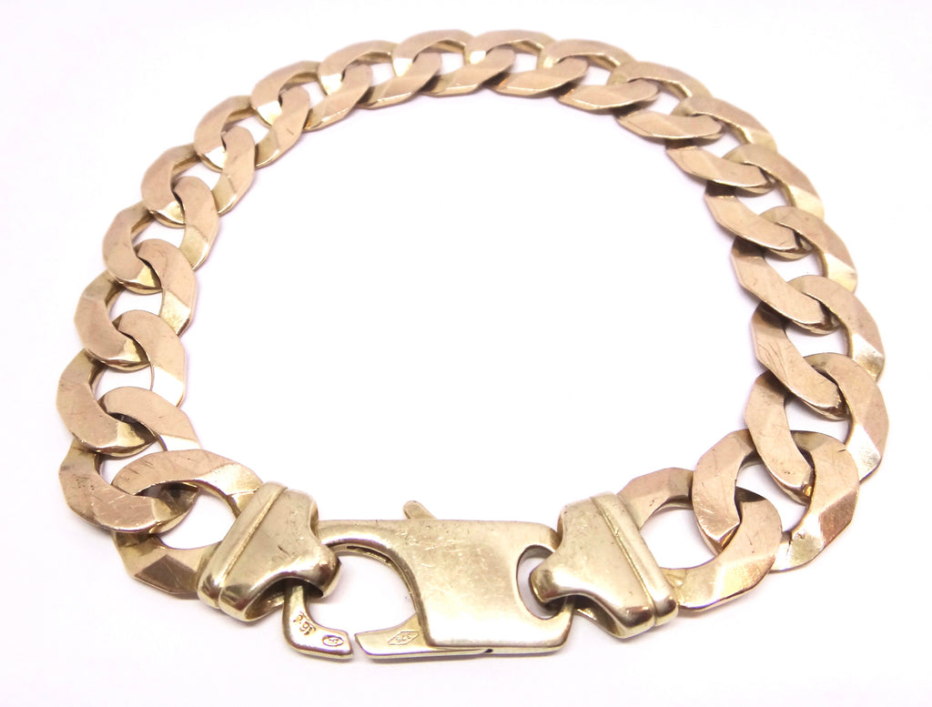 HEAVY Mens 9CT Yellow GOLD Curb Link Bracelet