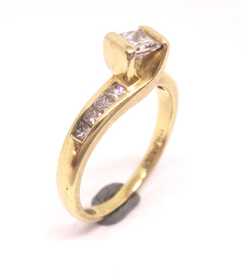 18CT Yellow GOLD & Multi Princess Cut DIAMOND Ring