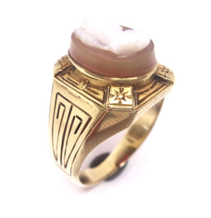 Vintage 14CT Yellow GOLD & Hard Stone Cameo Ring
