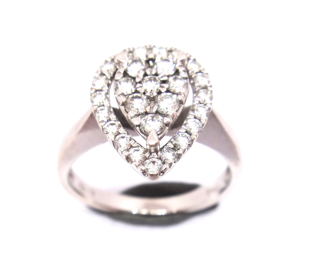 18CT White GOLD & Multi Diamond Pear Shaped Ring