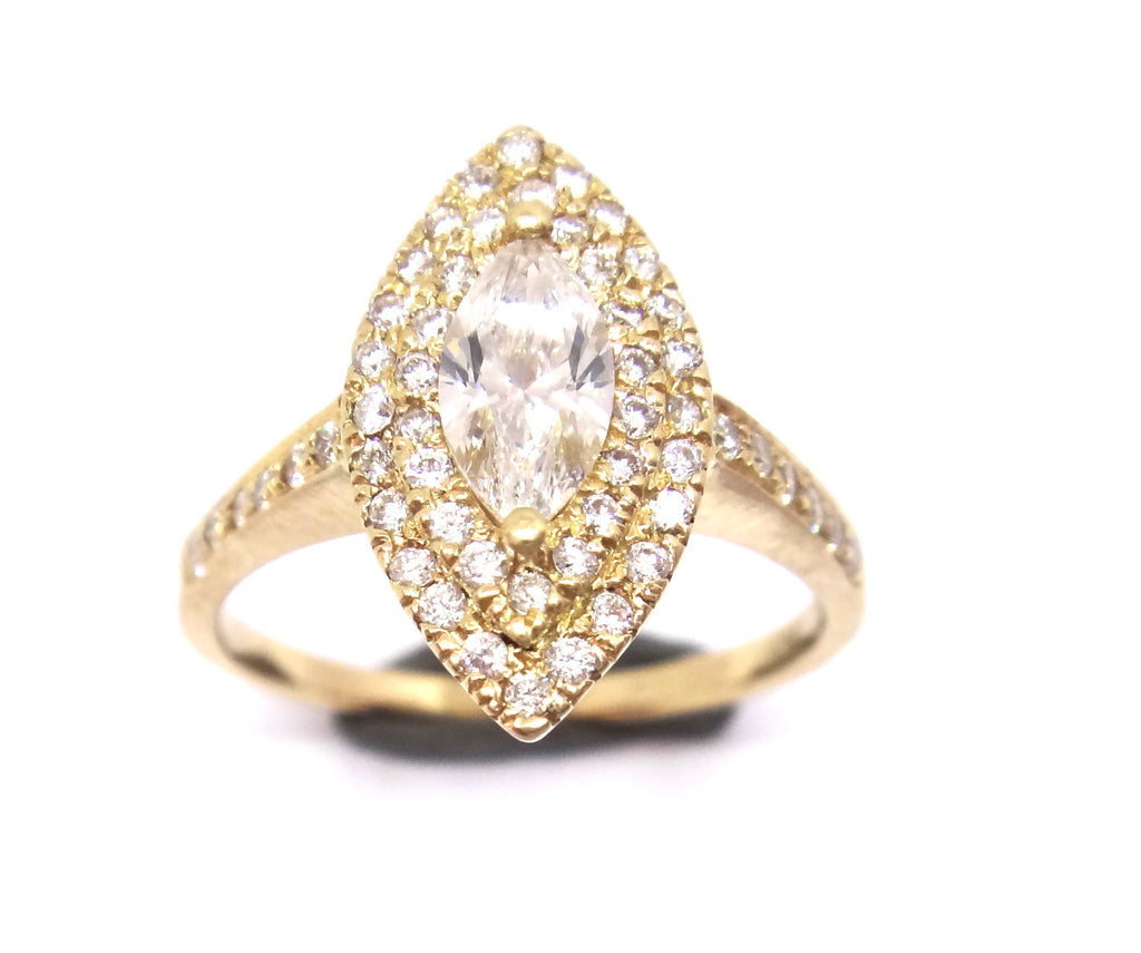 18CT Yellow GOLD & Marquise Diamond Ring VAL $6,310