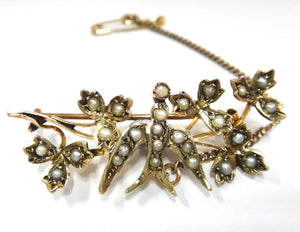 Victorian 9CT Gold & Pearl Swallow Brooch