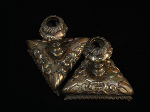 Pair of Victorian Bronze Candle Sticks