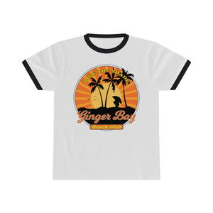 Ride The Shade - Ginger Bay Beach Club - Unisex Ringer Tee - FRONT PRINTED DESIGN