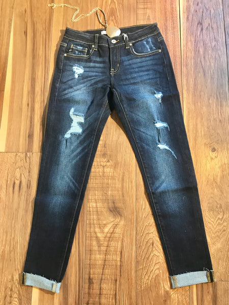 RESTOCKED/BEST-SELLER Distressed Ankle Jeans w/Raw Hem - Ashley Claire Boutique