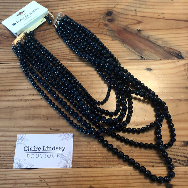 Black Layered Bead Necklace with Earrings - Ashley Claire Boutique